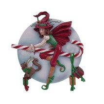 PTC Pacific Giftware Candy Cane Riding Christmas Holiday Witch Statue Fi... - $26.72