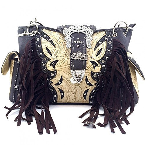 Fringe Western Rhinestone Buckle w/ Concealed Weapon Gun Pocket Purse (Brown)