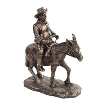 8 Inch Bronze Colored Sancho Panza Riding Donkey Figurine Statue - $46.16