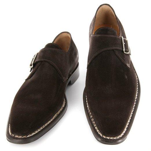 Handmade Men Monk Strap Shoes Suede Shoes Men Brown Shoes Formal