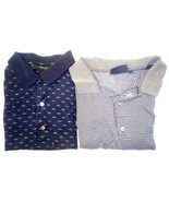 Lot of 2 BOBBY JONES L 100% Cotton Geometric Navy + Grey Golf Polo Rugby... - $13.86