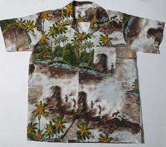 """Vintage Romani Hawaiin Shirt """"Made in Hawaii""""  Surfer Sail Boat Trees Hu... - $19.96"""