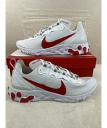 Nike Mens React Element 55 Sneakers Shoes White University Red Size 12 - $118.77