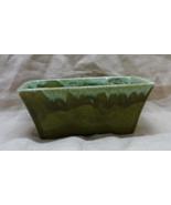 Vintage Mid Century Green Drip Glaze Planter // Retro Home Decor - $10.00