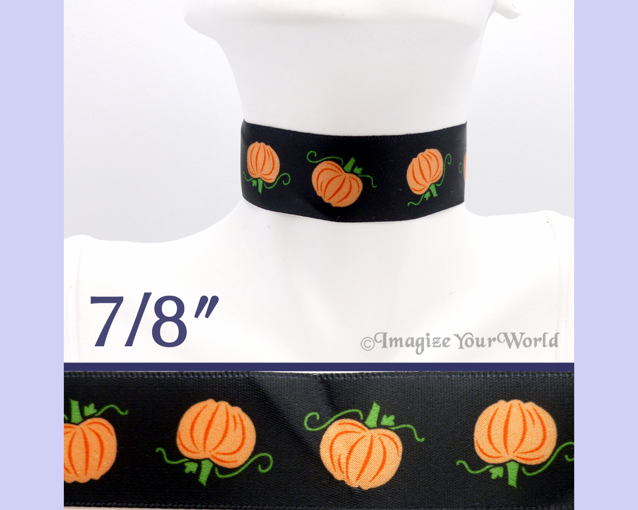 PUMPKINS Choker 7/8 inch 22 mm wide Halloween Fall Orange Black Satin Custom USA