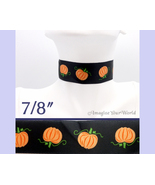PUMPKINS Choker 7/8 inch 22 mm wide Halloween Fall Orange Black Satin Cu... - $5.25