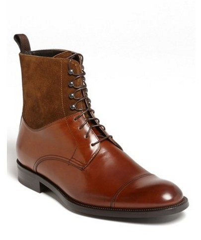 Handmade men's genuine leather and suede boots, Men real leather brown boots