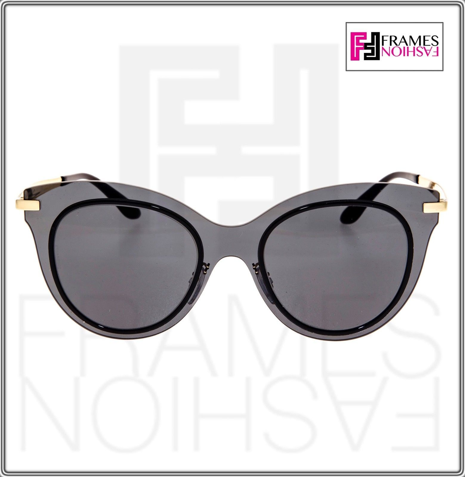 Dolce & Gabbana 2172 Gold Black Mirror Cat Eye Shield Sunglasses DG2172 Women