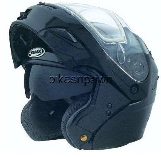 New M GMax GM54S Black Modular Snowmobile Winter Snow Helmet Led Rear Light