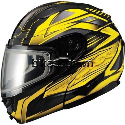 New 2XL GMax GM64S Black/Yellow Modular Snowmobile Winter Snow Helmet
