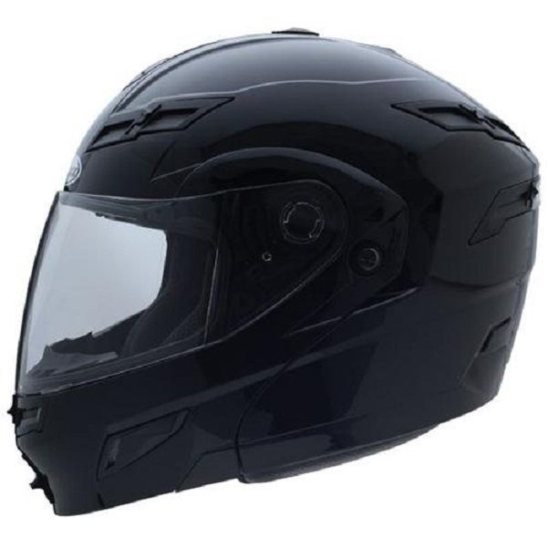 2X GMax GM54S Gloss Black LED Modular Motorcycle Helmet