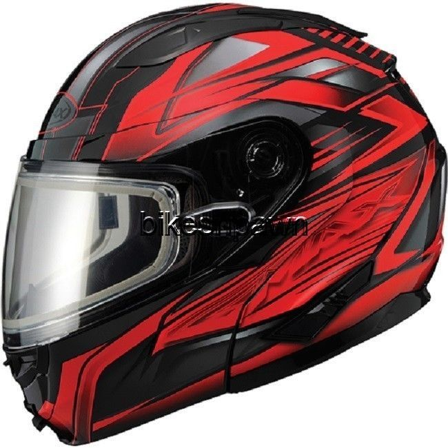New XS GMax GM64S Black/Red Modular Snowmobile Winter Snow Helmet