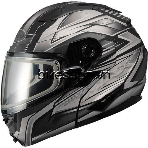 New XS GMax GM64S Matte Black/Silver Modular Snowmobile Winter Snow Helmet