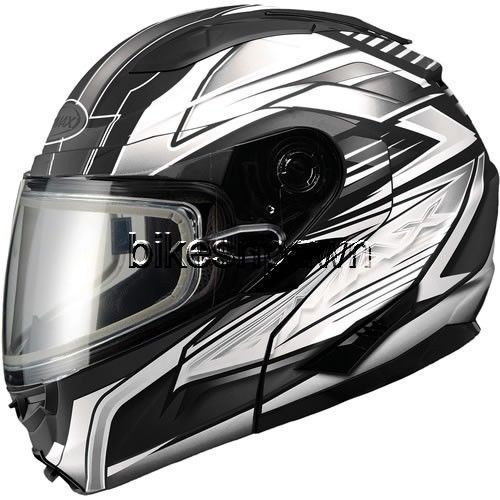 New XS GMax GM64S Matte Black/White Modular Snowmobile Winter Snow Helmet