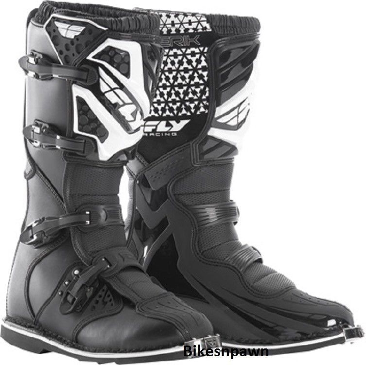 New 2016 Adult Size 8 Fly Racing Maverik Black Motocross MX ATV Boots