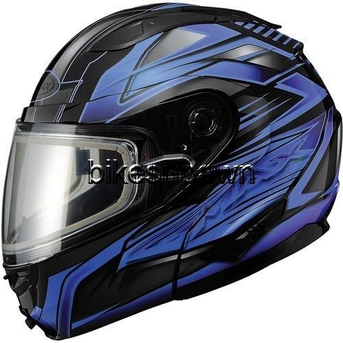 New S GMax GM64S Black/Blue Modular Snowmobile Winter Snow Helmet