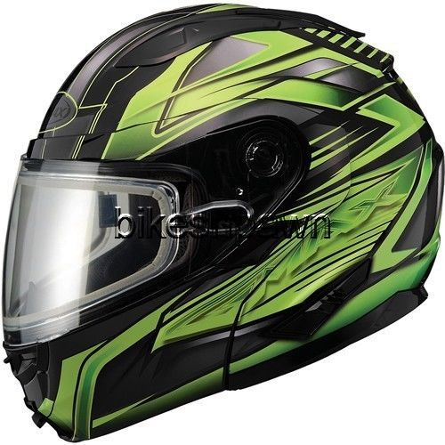 New S GMax GM64S Black/Green Modular Snowmobile Winter Snow Helmet