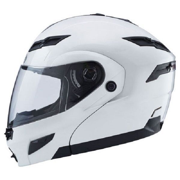 Large L GMax GM54S Pearl White LED Modular Motorcycle Helmet
