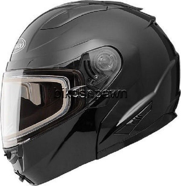 New S GMax GM64S Black Carbide Modular Snowmobile Helmet  w/ Electric Shield