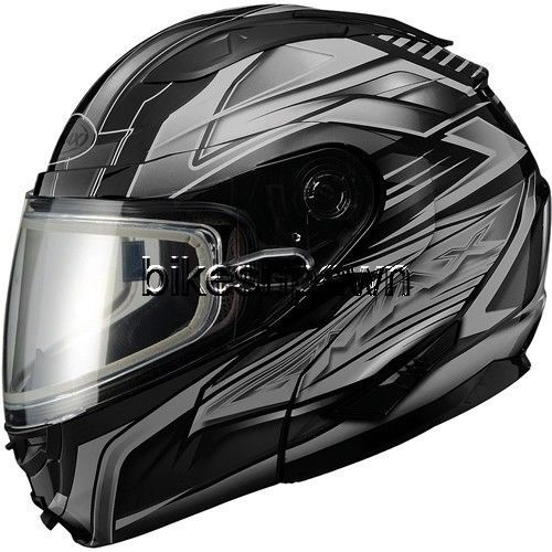New 3XL GMax GM64S Gloss Black/Silver Modular Snowmobile Winter Snow Helmet