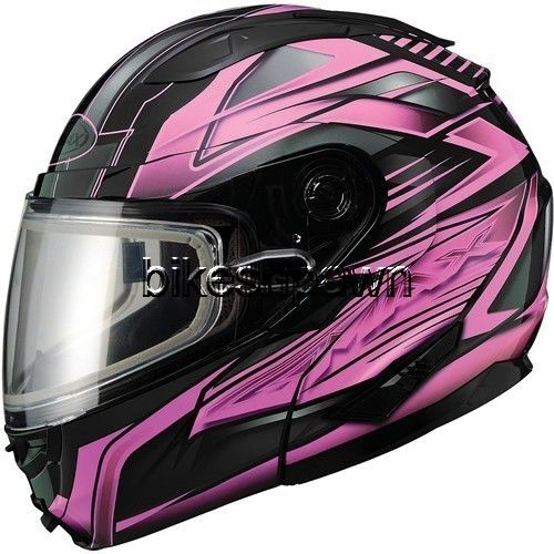 New XL GMax GM64S Black/Pink Modular Snowmobile Winter Snow Helmet