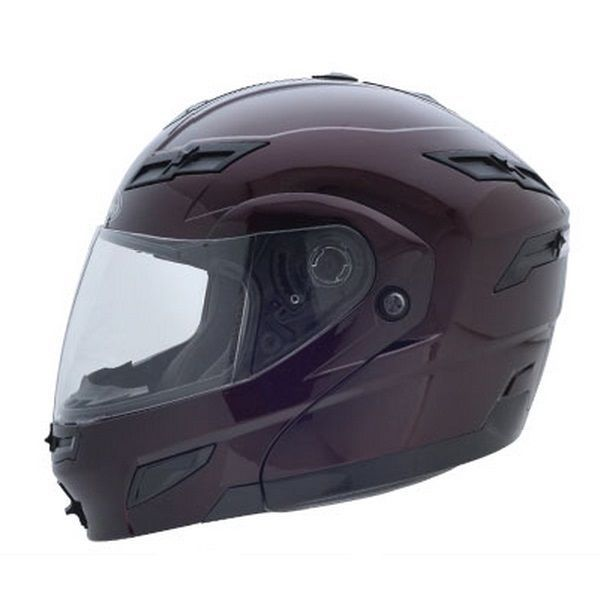 S GMax GM54S Wine Red LED Modular Motorcycle Helmet