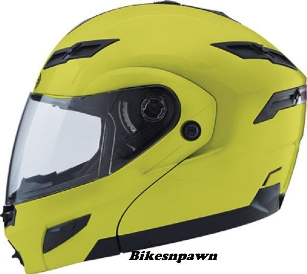 XL GMax GM54S Hi Viz Yellow LED Modular Motorcycle Helmet