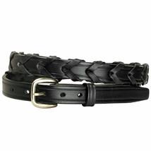 Tory Leather Overlaid Lacing Snap Laced Belt Buckle Havana U-0-VX - $42.99