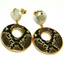 EARRINGS SILVER 925, HANGING, PEARLS BAROQUE STYLE FLAT, OVALS EFFECT SNAKE image 1
