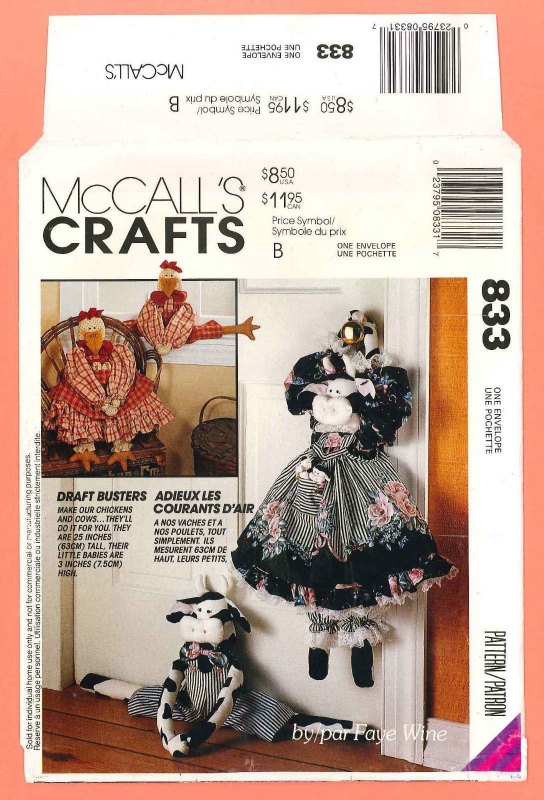 McCall's 6562 Draftbusters Boy Girl Cow Calves Chicken Chicks Pattern
