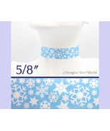SNOWFLAKES Choker 5/8 inch 16 mm wide Winter White Light Blue Satin Cust... - $5.25