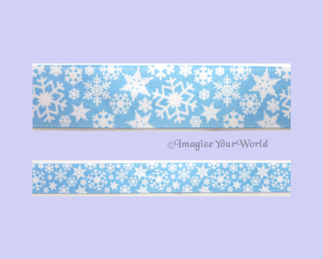 SNOWFLAKES Choker 5/8 inch 16 mm wide Winter White Light Blue Satin Custom USA