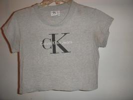 Vtg 90's Calvin Klein Spellout Logo Grey CK Half Shirt CropTop Made in USA XS - $29.70