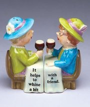 Whimsical Whining Wine Ladies Magnetic Salt and Pepper Shakers Set New - $15.44