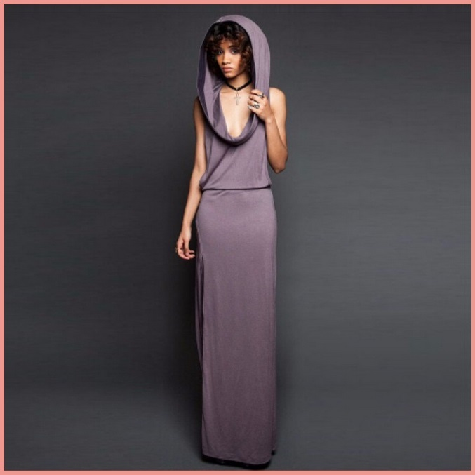 Primary image for Hooded Purple or Black Casual Sleeveless Jersey Tank Side Slit Tunic Beach Dress