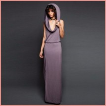 Hooded Purple or Black Casual Sleeveless Jersey Tank Side Slit Tunic Beach Dress