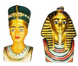 Egyptian King Tut & Queen Nefertiti Salt & Pepper Shakers - $10.88