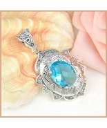 Sterling Silver Vintage Artisian Hand Crafted Oval Sky Topaz Blue Pendant   - $69.95