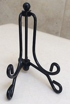 Folding Tabletop Easel, Glossy Black Sturdy Metal for Small Plates , 1/8... - £5.75 GBP