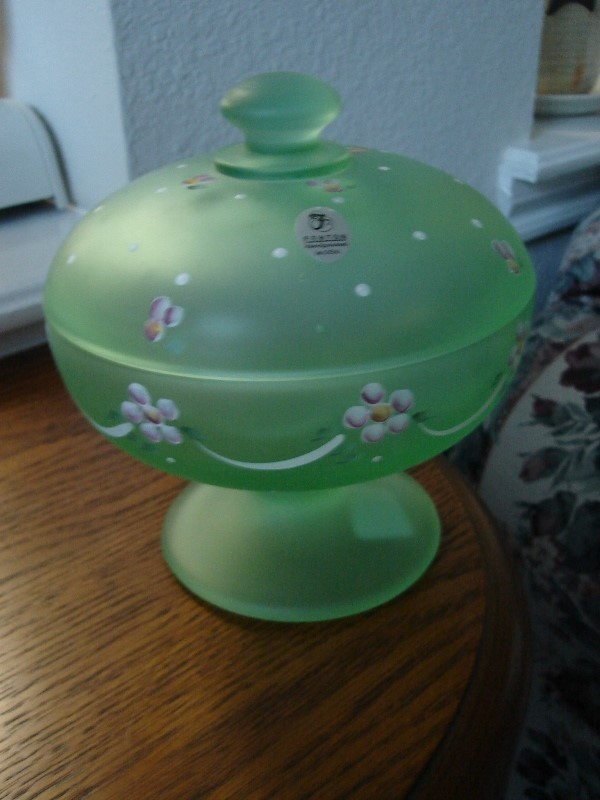 Fenton Satin Willow Green HP Dotted Swiss Candy Dish