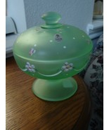 Fenton Satin Willow Green HP Dotted Swiss Candy... - $49.50