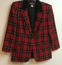 SAG HARBOR RED BLACK PLAID LINED JACKET~SIZE 4P~NICE - $9.99