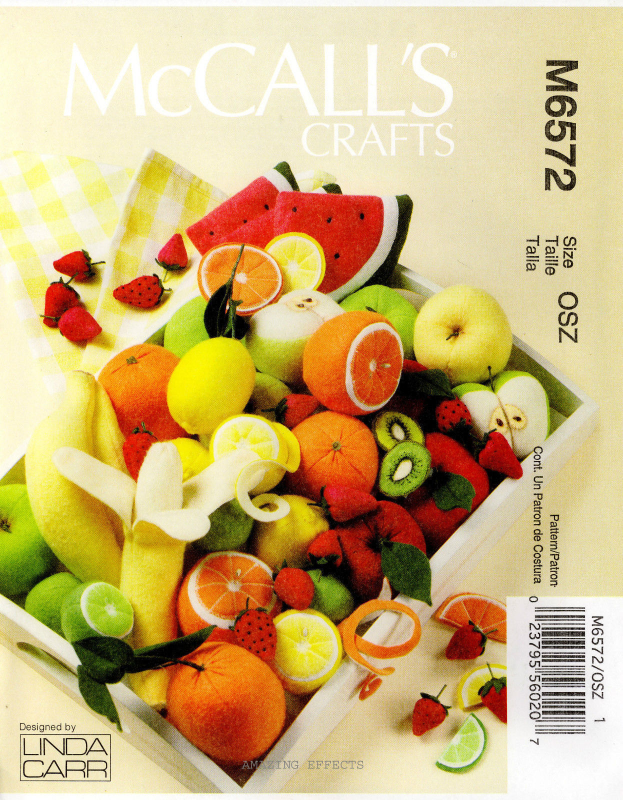 McCall's M6572 Fruit Orange Lime Lemon Apple Banana Kiwi Melon Pattern