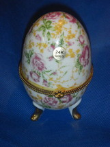 "LILY CREEK TRINKET BOX "" I LOVE YOU"" Chintz Porcelain EGG on Pedestal 24... - $10.36"