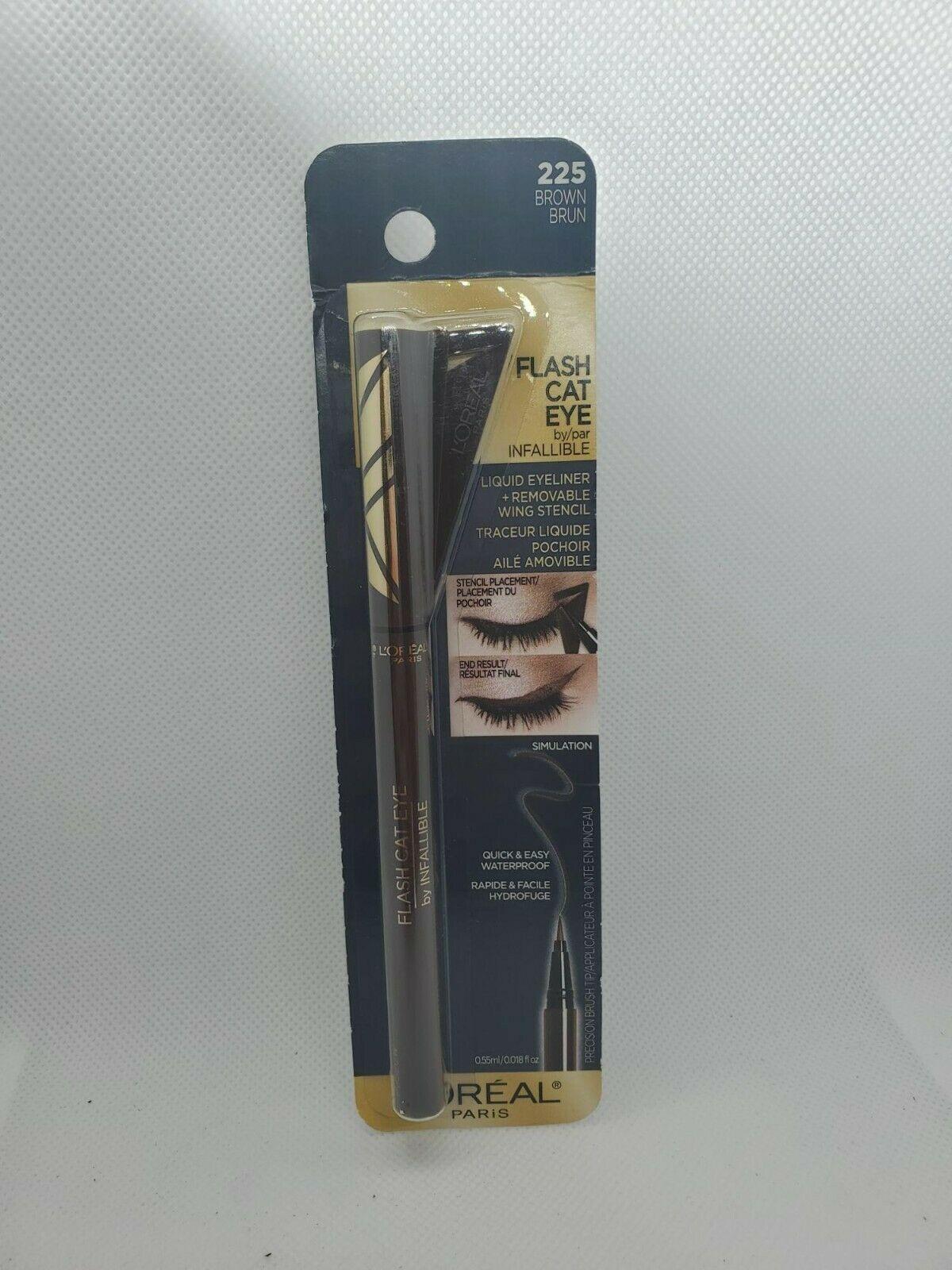 Loreal Paris Flash Cat Eye Liquid Eyeliner #225 Brown Waterproof Makeup - $8.40