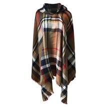 Elegant Women Hooded Tassel Poncho Fashion Plaid Shawls Scarf Female Autumn - $22.98
