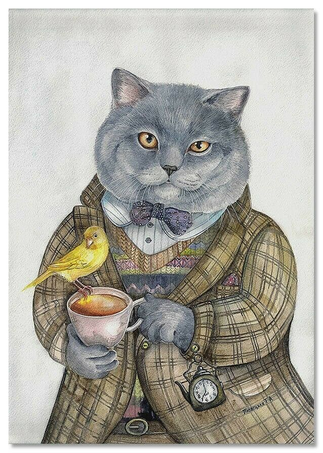 Primary image for CATS ART ~ CAT gray with tea cup Bird Pocket watch Russian MODERN Postcard