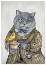CATS ART ~ CAT gray with tea cup Bird Pocket watch Russian MODERN Postcard - $2.69
