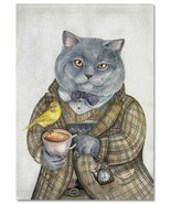 CATS ART ~ CAT gray with tea cup Bird Pocket watch Russian MODERN Postcard - £1.94 GBP