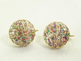 CONFETTI JEWEL Tones Silver Bars Clip on Earrings Gold Plate Vintage Est... - $17.81